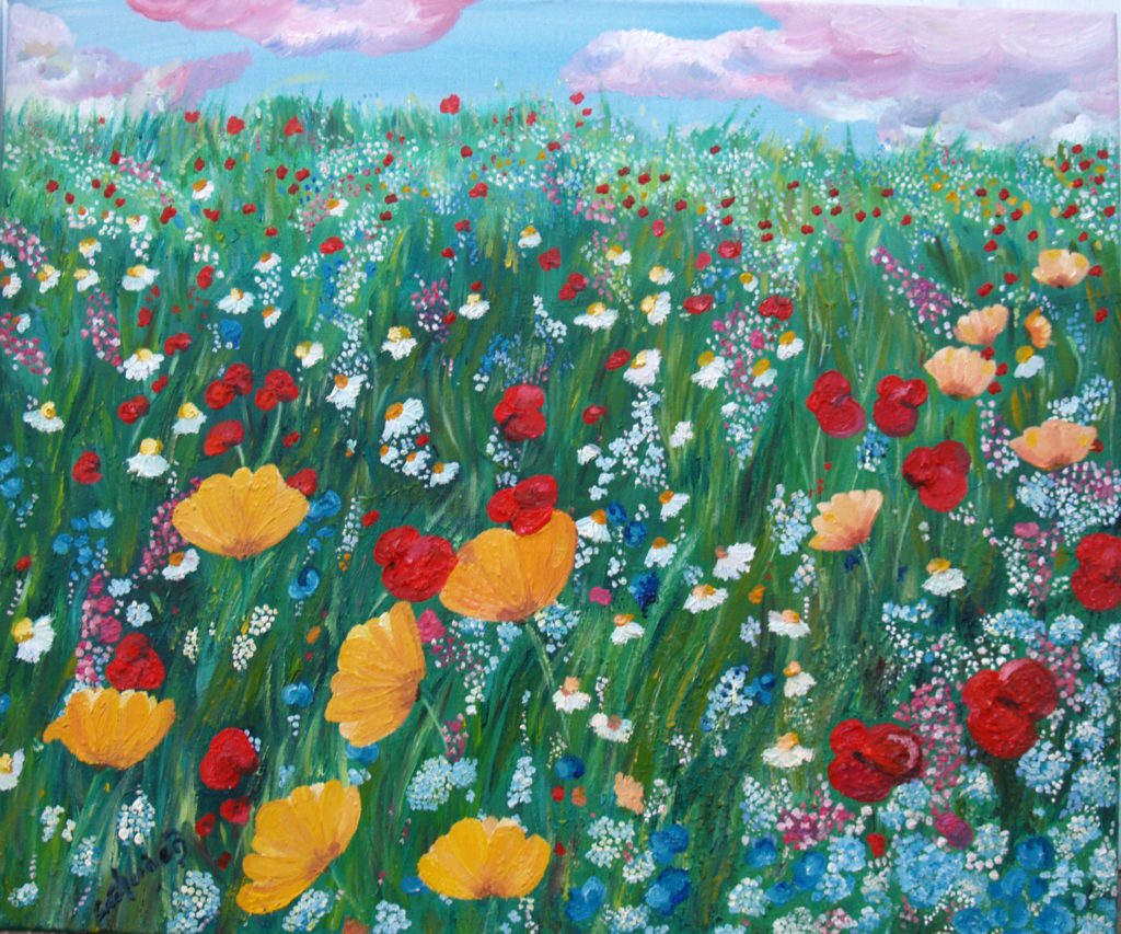 Oil painting of oranges, bllues, red and white of poppies and gyp in a meadow under a blue sky.